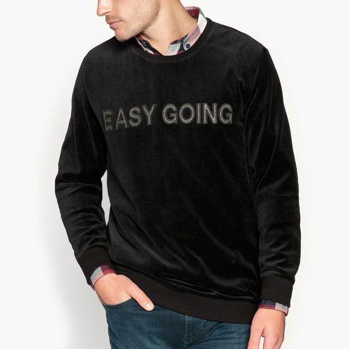 Bluza welurowa z napisem, kolor czarny