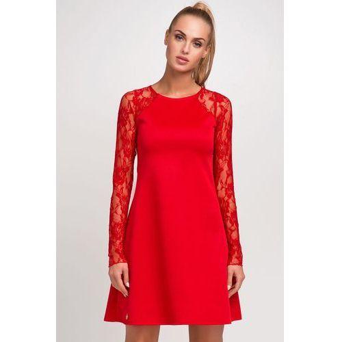 Czerwona Wizytowa Trapezowa Sukienka z Długim Koronkowym Rękawem, trapezowa