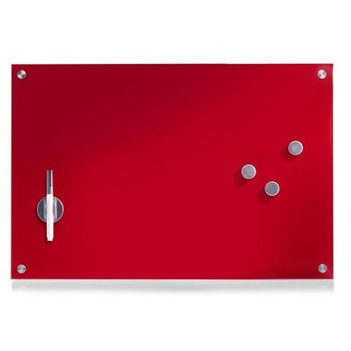 Zeller Szklana tablica magnetyczna memo, czerwona + 3 magnesy, 60x40 cm,