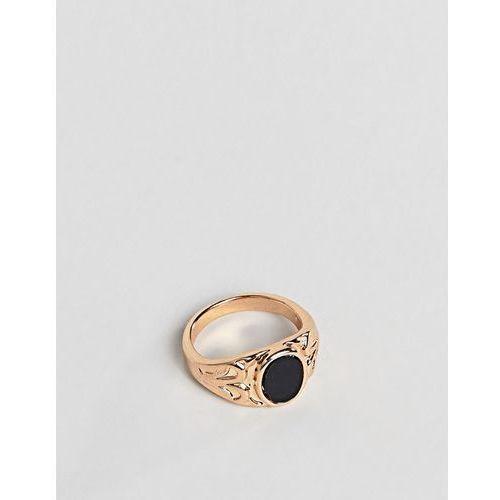 Designb london Designb signet ring in gold with black stone - gold
