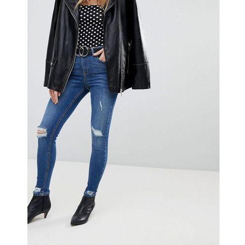 distressed hem skinny jeans - blue, Miss selfridge