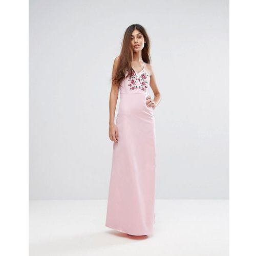 studio embroidered maxi dress - pink marki Y.a.s