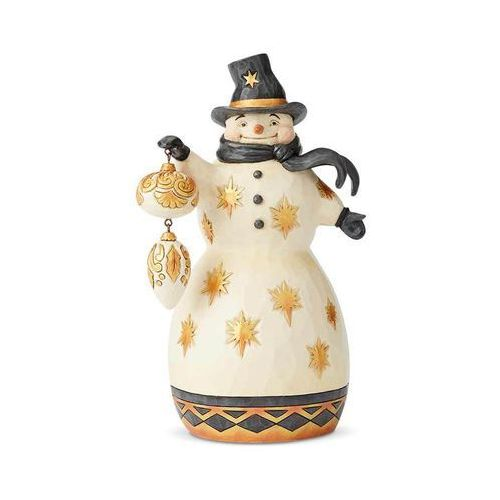 """Złoty bałwanek """"Bądź wesoły bądź szczęśliwy"""" Merry Be Bright (Black & Gold) 6004199 Jim Shore figurka ozdoba świąteczna"""