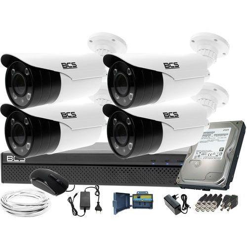 Bcs Kompletny zestaw do monitoringu rejestrator -xvr0401 4 kamery bcs-tqe5200ir3-b dysk 1tb akcesoria