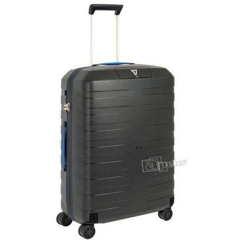 Roncato Box średnia walizka twarda / polipropylen / 69 cm - czarny / niebieski (8008957396063)