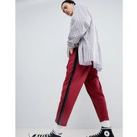 Mennace Cropped Joggers In Burgundy - Red, kolor czerwony