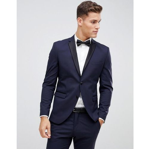Selected Homme Navy Tuxedo Suit Jacket With Satin Lapel In Slim Fit - Navy