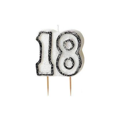 Brokatowa świeczka na 18-tke z czarną obwódką - 1 szt. marki Unique