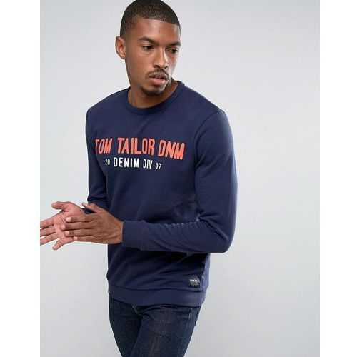 Tom tailor sweatshirt with brand graphic - navy
