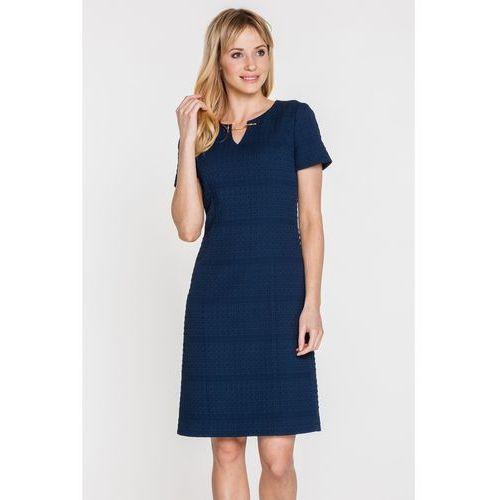 Granatowa sukienka z gufrowanej tkaniny - Potis & Verso, kolor niebieski
