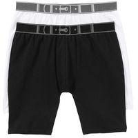 Długie bokserki (2 pary) bonprix czarny + biały, bawełna