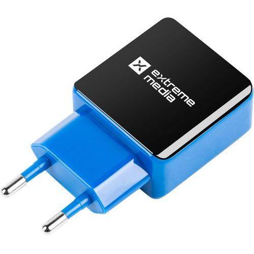 Natec Ładowarka sieciowa extreme media nuc-0997 adapter napięcia 230v -> usb 2,1a x2 czarno-niebieska (5901969408324)