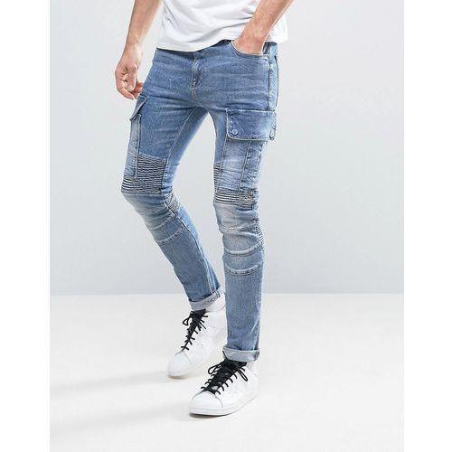 super skinny jeans with cargo pockets and biker details in mid blue - blue marki Asos
