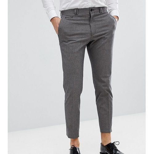 Noak Skinny Wedding Cropped Trousers In Mini Check - Brown, kolor brązowy