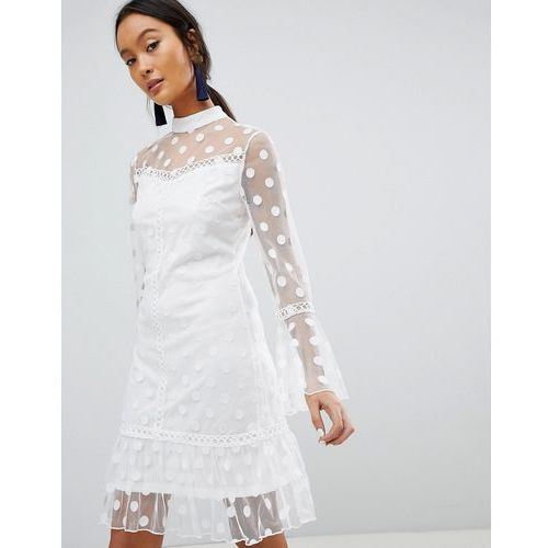 polka dot mesh shift dress - white marki Parisian