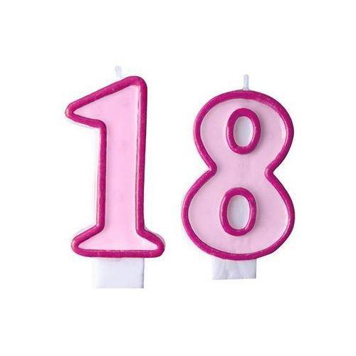 Świeczki cyferki różowe - 18 - osiemnastka - 2 szt.