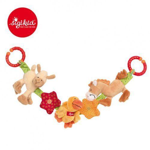 miękki łańcuch do wózka zwierzęta na farmie z grzechotką, dzwoneczkiem, piszczałką i szeleszczącą folią marki Sigikid