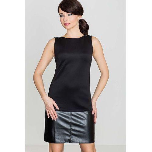 Katrus Czarna casualowa sukienka z dodatkiem ekoskórki