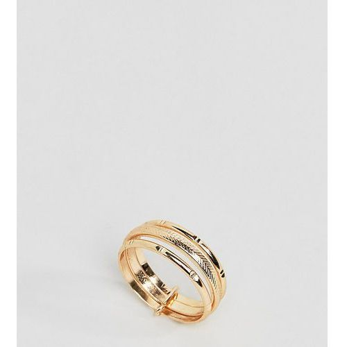 ASOS DESIGN Curve ring with vintage style triple band in gold - Gold