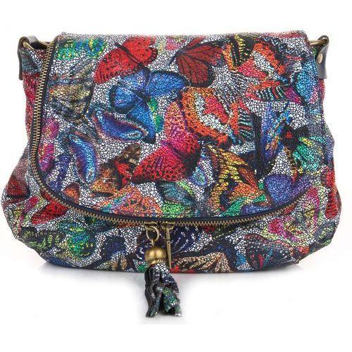 Genuine leather Modna torebka skórzana listonoszka w motyle multikolor granat (kolory)