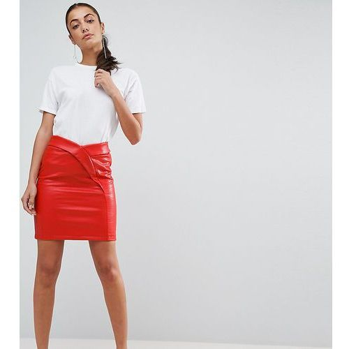 textured tulip mini skirt in leather look - red, Asos tall