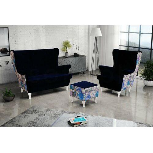 """Zestaw """"RIKI"""" sofa + fotel+podnóżek - ciemna zieleń"""