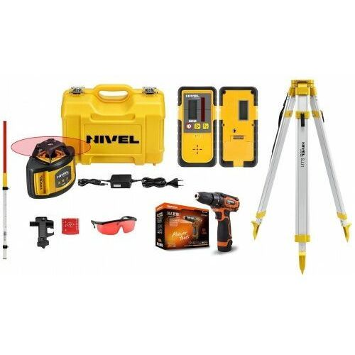 Nivel Laser obrotowy niwelator nl500 zestaw łata statyw + gratis