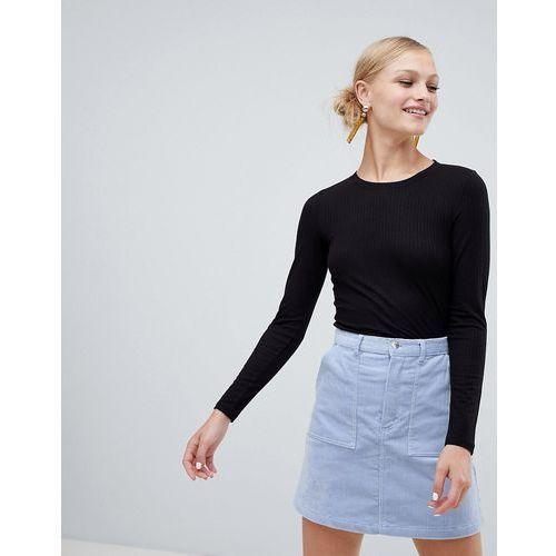 Monki Long Sleeve Soft Touch Jersey Top - Black, kolor czarny