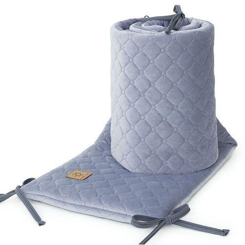 ochraniacz do łóżeczka 60x120 oraz 70x140 velvet pik - szary marki Mamo-tato