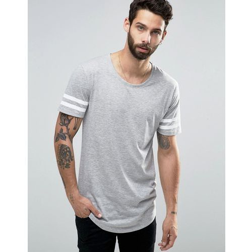 Only & Sons Longline T-shirt with Arm Stripes and Curved Hem - Grey