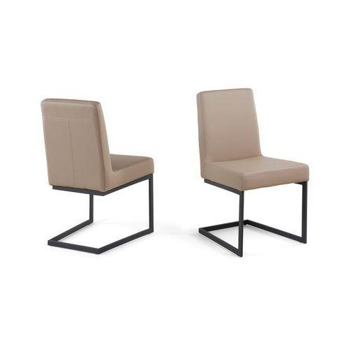 Krzesło café latte - tapicerowane - do jadalni - do kuchni - czarna rama - ARCTIC, kup u jednego z partnerów