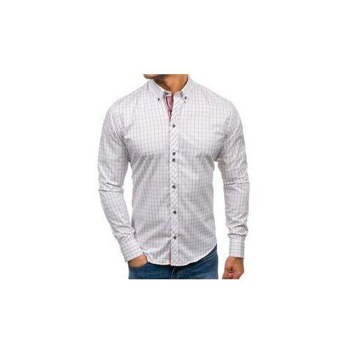 Koszula męska w kratę z długim rękawem biało-czerwona Bolf 8803