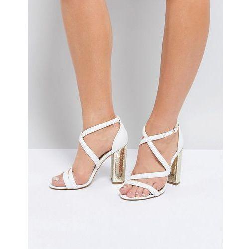 cross strap metallic block heel sandal - white marki Miss kg