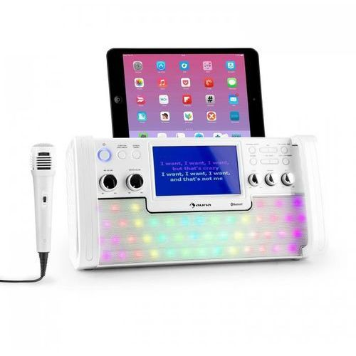 DiscoFever Zestaw karaoke Bluetooth LED Ekran TFT 7 cali CD USB biały