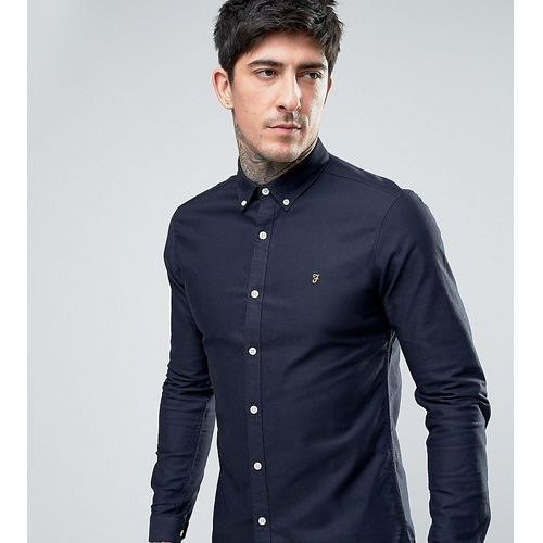 Farah Stretch Skinny Fit Buttondown Oxford Shirt in Navy - Navy, kolor szary
