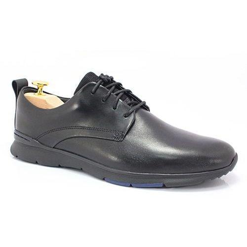 26119905 czarne - markowe, wygodne buty ze skóry, styl casual marki Clarks