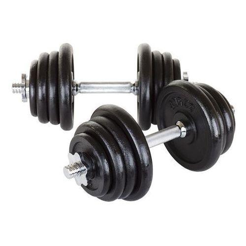 Hantle żeliwne 2 x 20 kg Hop-Sport + rękawiczki neoprenowe - 2 x 20 kg