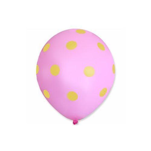 Balony pastelowe różowe w żółte grochy - 30 cm - 5 szt. marki Dp