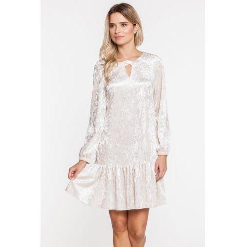 Biała welurowa sukienka z falbanką - L'ame de Femme, 1 rozmiar
