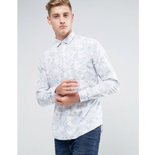 Esprit Shirt In Slim Fit With All Over Leaf Print - White, 1 rozmiar