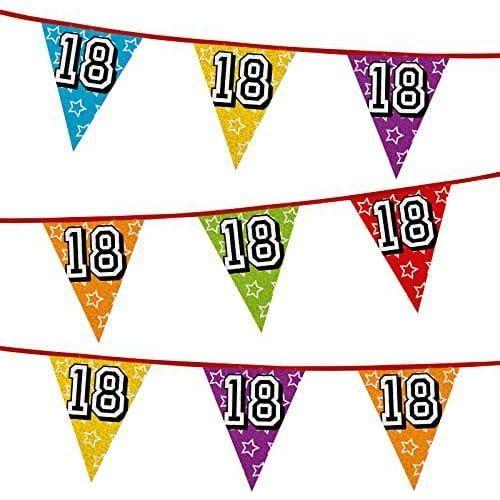 Girlanda z flag na 18 urodziny, kolorowe flagi holograficzne