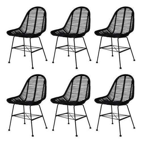 Krzesła do jadalni, 6 szt., naturalny rattan, czarne, kolor czarny