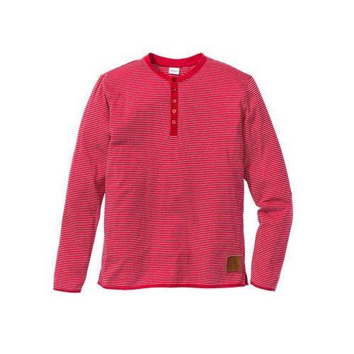 Shirt z długim rękawem, w paski regular fit  czerwony - w paski marki Bonprix