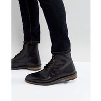 military lace up boots in black leather - black marki Ben sherman