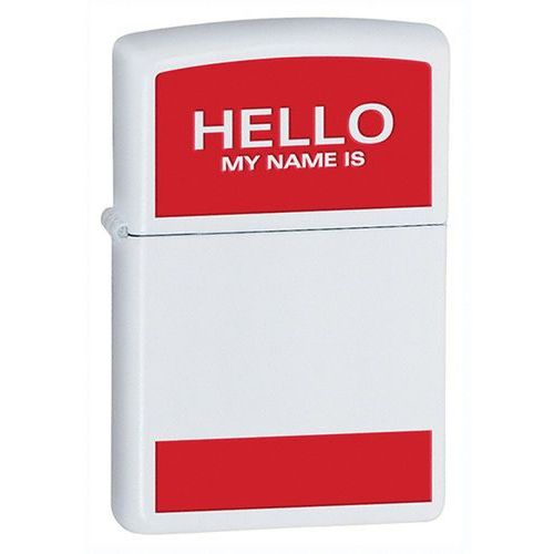 Zapalniczka Zippo Hello My Name Is, White Matte