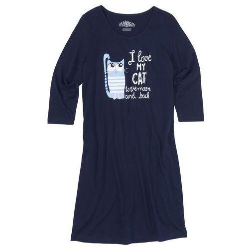 Koszula nocna, rękawy 3/4 bonprix ciemnoniebieski z nadrukiem, kolor niebieski