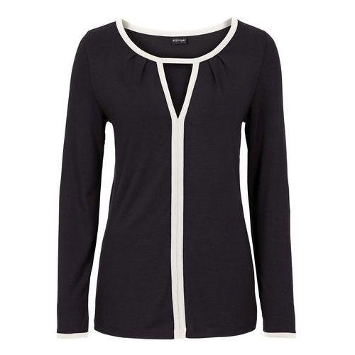 Shirt z długim rękawem bonprix czarno-biel wełny