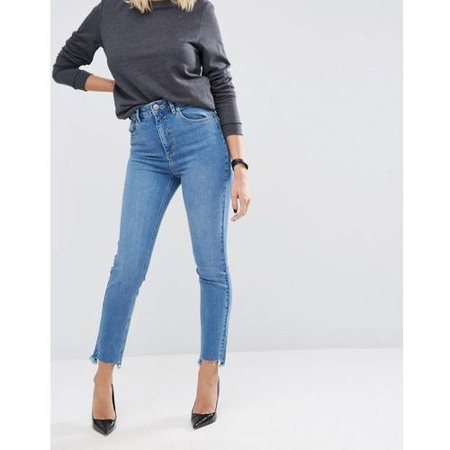 Asos farleigh slim mom jeans in jecca pretty midwash side tabs with split hem - blue