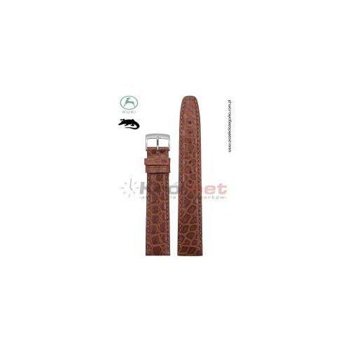 Kuki Pasek 0702/18 - skóra aligatora, jasny brąz, klamerka 16 mm