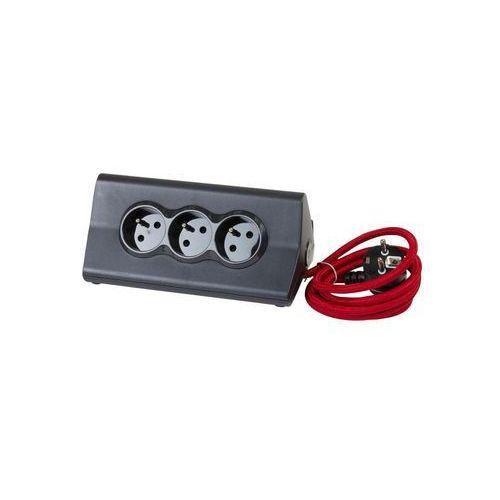 Przedłużacz biurkowy 16 a 230v + 2 x usb 2.4 a z uchwytem na tablet czarno-czerwony marki Legrand